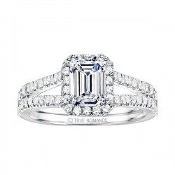 Emerald Cut Split Shank Halo Diamond Engagement Ring