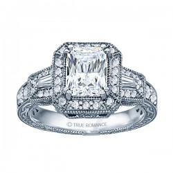Radiant Diamond Vintage Semi Mount Engagement Ring