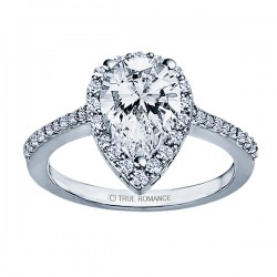 RM1382G82 - Pear Shape Halo Semi Mount Engagement Ring
