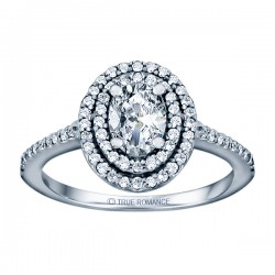 Oval Cut Double Halo Diamond Semi Mount Engagement Ring