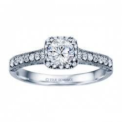 Rm1457 -14k White Round Cut Cushion Halo Diamond Vintage Semi Mount Engagement Ring