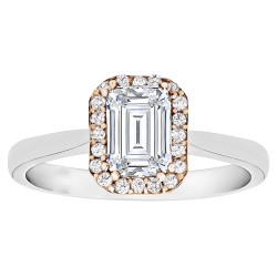 Emerald Cut Halo Diamond Semi Mount Engagement Ring