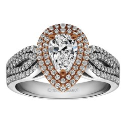 Pear Shape Halo Diamond Vintage Semi Mount Engagement Ring