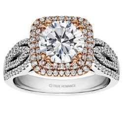 Round Cut Cushion Halo Diamond Semi Mount Engagement Ring