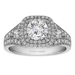 Round Cut Double Halo Diamond Vintage Semi Mount Engagement Ring