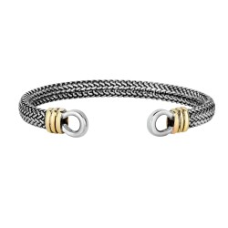 18k Yellow Gold Silver with Oxidized Finish 7mm Domed Woven Cuff Style Bangle with Horse Shoe Type Cuffs