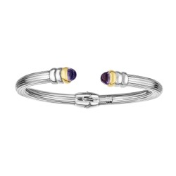 18kt Yellow Gold Silver with Rhodium Finish 5mm Shiny Ridged Cuff Bangle with Domed Briolette Amethyst Cuff