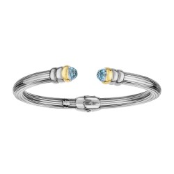 18kt Yellow Gold Silver with Rhodium Finish 5mm Shiny Ridged Cuff Bangle with Domed Briolette Blue Topaz Cuff