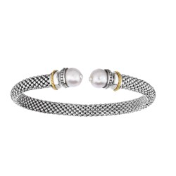 18kt Yellow Gold Silver with Rhodium Finish 6mm Domed Popcorn Cuff Bangle with Ball White Pearl Cuffs