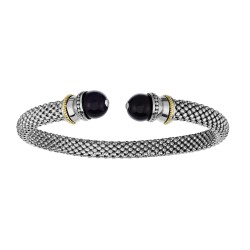 18kt Yellow Gold Silver with Rhodium Finish 6mm Domed Popcorn Cuff Bangle with Ball Black Onyx Cuffs