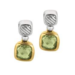 18Kt Yellow Gold Sterling Silver Oxidized Green Amethyst Drop Earring.