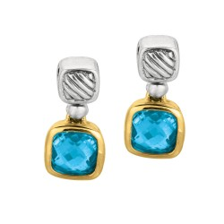 18Kt Yellow Gold Sterling Silver Oxidized Blue Topaz Drop Earr Ing.