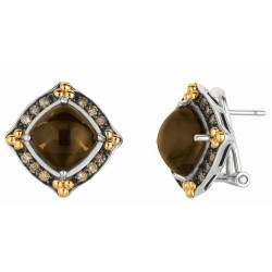 "18Kt Yellow Gold Sterling Silver Smokey Quartz Coffee Diamonds Omega Back Earring. Next Generation Of ""Rock Candy"" Collection."