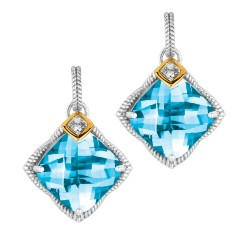 """0.04Ct. Diamond Blue Topaz 18Kt Yellow Gold Sterling Silver Roc K Candy Drop Earring. Next Generation Of """"Rock Candy"""" Collection ."""