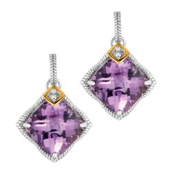"0.04Ct. Diamond Amethyst 18Kt Yellow Gold Sterling Silver Rock Candy Drop Earring. Next Generation Of ""Rock Candy"" Collection."