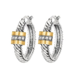 0.10Ct. Diamond 18Kt Yellow Gold Sterling Silver Oval Twistes Hoop with Barrel Diamond Center.
