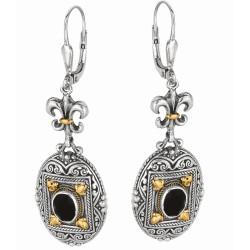 "18Kt Yellow Gold Sterling Silver Oxidized Oval Black Onyx Flue R De Lis-Byzantine Drop Drop Earring. Timeless ""Byzantine"" Colle Ction."