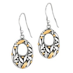 Oxidized Graduated Oval Dangle Earring with Florentine Pattern Collection