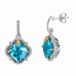 "0.02Ct Diamond Blue Topaz 18Kt Yellow Gold Sterling Silver Dro P Earring. Next Generation Of ""Rock Candy"" Collection."