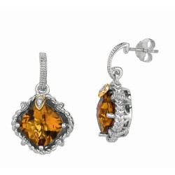 "0.02Ct Diamond Whiskey Quartz 18Kt Yellow Gold Sterling Silver Drop Earring. Next Generation Of ""Rock Candy"" Collection."