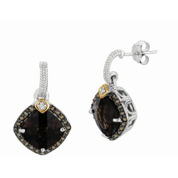 """0.44Ct. Coffee Diamond Smokey Quartz 18Kt Yellow Gold Sterling Silver Rock Candy Earring. Next Generation Of """"Rock Candy"""" Colle Ction."""