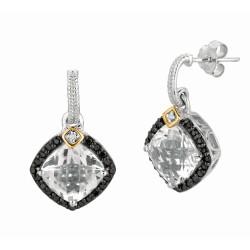 "0.44Ct. Diamond Crystal Quartz 18Kt Yellow Gold Sterling Silver Rock Candy Earring. Next Generation Of ""Rock Candy"" Collection."