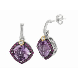 "0.44Ct. Diamond Pink Amethyst Rhodalite 18Kt Yellow Gold St Erling Silver Rock Candy Earring. Next Generation Of ""Rock Candy "" Collection."