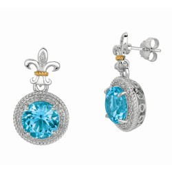 "0.17Ct Diamond Blue Topaz 18Kt Yellow Gold Sterling Silver Dro P Earring. Next Generation Of ""Rock Candy"" Collection."
