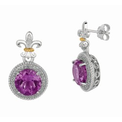 "0.17Ct Diamond Amethyst 18Kt Yellow Gold Sterling Silver Drop Earring. Next Generation Of ""Rock Candy"" Collection."