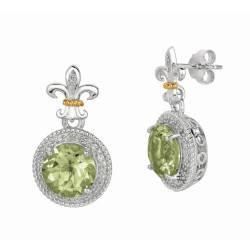 "0.17Ct Diamond Green Amethyst 18Kt Yellow Gold Sterling Silver Drop Earring. Next Generation Of ""Rock Candy"" Collection."