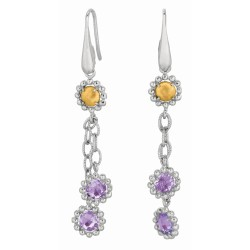 18Kt Yellow Gold Sterling Silver Amethyst Double Strand Itali An Cable Drop Earring.