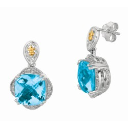 "0.12Ct. Diamond Blue Topaz 18Kt Yellow Gold Sterling Silver Roc K Drop Candy Earring. Next Generation Of ""Rock Candy"" Collection ."