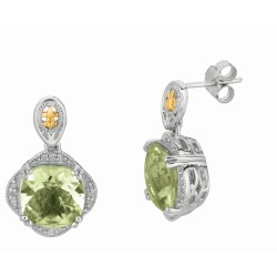 "0.12Ct. Diamond Green Amethyst 18Kt Yellow Gold Sterling Silver Rock Candy Drop Earring. Next Generation Of ""Rock Candy"" Collec Tion."