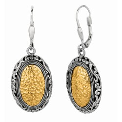 "18Kt Yellow Gold Sterling Silver Oxidized Hammered Finish Ed Ov Al Byzantine Drop Leverback Earring. Timeless ""Byzantine"" Collec Tion."