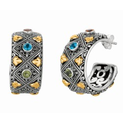 """18Kt Yellow Gold Sterling Silver Oxidized Blue Topaz Peridot C Itrine 3 4-Moon Byzantine Earring. Timeless """"Byzantine"""" Collecti On."""