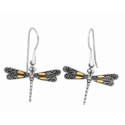 "18Kt Yellow Gold Sterling Silver Oxidized Single Dragonfly Drop Earring. Featuring ""Dragonfly"" Collection."