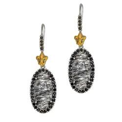 18Kt Yellow Gold Sterling Silver Oval Briollette Black Rutil Quartz Black Spinel Drop Earring
