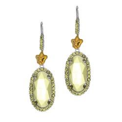 18Kt Yellow Gold Sterling Silver Oval Briollette Green Amethyst Peridot Spinel Dr Op Earring