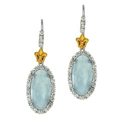 18Kt Yellow Gold Sterling Silver Oval Briollette Milky Aquamarine Aquamarine Drop Earring