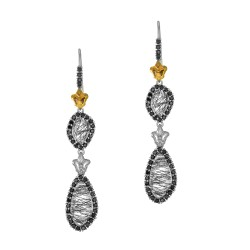 18Kt Yellow Gold Sterling Silver Briollette Black Ruti Black Spinel Double Drop Earring