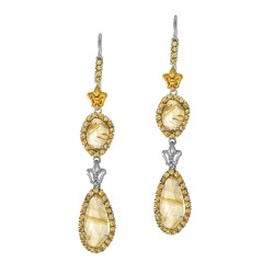 18Kt Yellow Gold Sterling Silver Briollette Gold Rutil Quartz Citrine Double Drop Earring