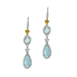 18Kt Yellow Gold Sterling Silver Milky Aquamarine Aquamarine Double Drop Earring