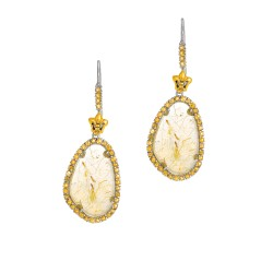 18Kt Yellow Gold Sterling Silver Briollette Golden Rutil Quartz Citrine Drop Earr Ing