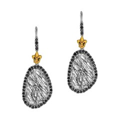 18Kt Yellow Gold Sterling Silver Briollette Black Rutil Quartz Black Spinel Drop Earring