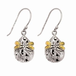 "18Kt Yellow Gold Sterling Silver with Rhodium Finish Shiny Small Teardrop Shape Drop Earring with Dragonfly ""Philip Gavriel Collection"""