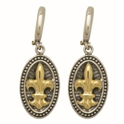 "18Kt Yellow Gold Silver with Oxidized Rhodium Finish Oval Shape Leverback Earr Ing with Fleur De Lis ""Philip Gavriel Collection"""