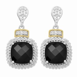 "18Kt Yellow Gold Silver with Rhodium Finish Drop Earring with 2-10.0 Square Black Onyx 6-0.01Ct Faceted White Diamond ""Philip Gavriel Collection"