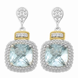 "18Kt Yellow Gold Silver with Rhodium Finish Drop Earring with 2-10.0 Square Sky Blue Topaz 6-0.01Ct Faceted White Diamond ""Philip Gavriel Collection"