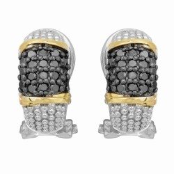 "18Kt Yellow Gold Silver with Rhodium Black Rhodium Finish French Back Earring with 36-0.01Ct Faceted Black Diamond ""Philip Gavriel Collection"
