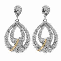 "18Kt Yellow Gold Silver with Rhodium Finish Fancy Teardrop Earring with 24-0. 01Ct Faceted White Diamond ""Philip Gavriel Collection"